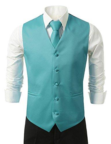 Brand Q 3pc Men's Dress Vest NeckTie Pocket Square Set for Suit or Tuxedo (S (Chest 41), Turquoise)