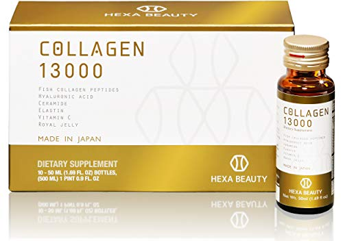 Collagen 13000 by Hexa Beauty, Set of 10 Mini Vial Bottles 50ml Each - Made in Japan Dietary Supplement Drink Contains Potent 13000mg of Collagen to Support Healthy Hair, Skin & Nails