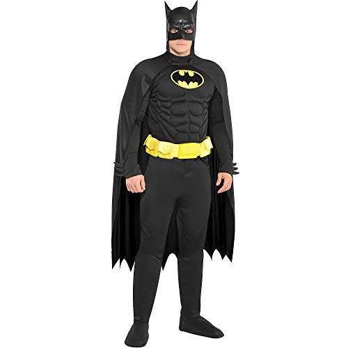 Costumes USA Batman Muscle Costume for Adults, Standard Size, Includes a Padded Jumpsuit, a Mask, and Boot Covers -