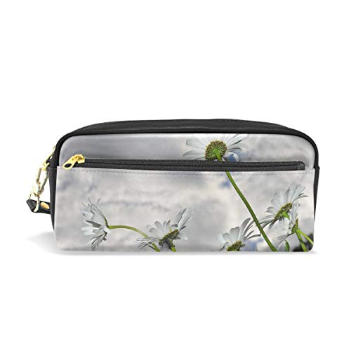 Jnseff Pencil Case Stylish Print Daisy Daisies Spring Blooms Flower Nature Summer Art Pattern Large Capacity Pen Bag Makeup Pouch Durable Students Stationery Two Pockets with Double Zipper -