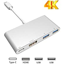 USB-C Hub to HDMI 4K, Type C to HDMI 2 USB3.0 PD Adapter, Portable Converter Adaptor for 2017 MacBook Pro/Samsung Galaxy S8/S8 Plus, Multi-Port Charging & Connecting Adapte (Plug and Play)