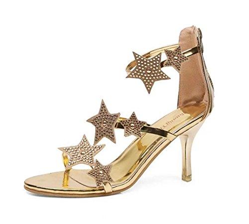 scarpa alti Tacchi con con sandali scarpe da WSK donna strass da tacco alto con donna fibbia da Star donna gold Comoda 5d7XYBWwBq