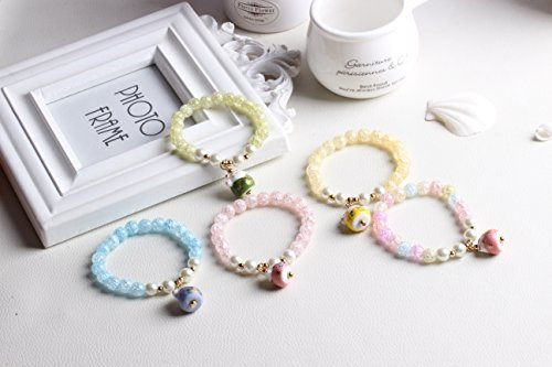 DreamMarker Ice Crack Crystal Korean Style Charm Bracelet with a Fortune & Lucky Cat Pendant (Yellow) by DreamMarker (Image #2)