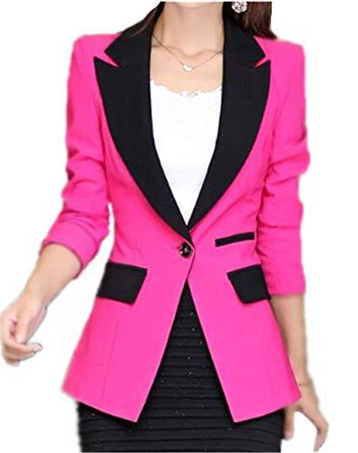 Otoño Mujeres Elegante Fit Blazer Battercake Casuales Negocios Estilo Rosa Slim Primavera Manga Moda Outerwear Oficina Moderno Casual Chaqueta Vintage Abrigos Larga Mujer BwSwz7