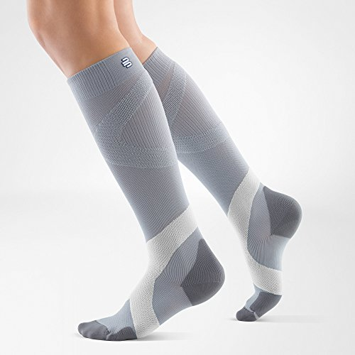 Bauerfeind Sports Ball and Racket Unisex Compression Socks (1 Pair) (Silver/Polar, Small/Long)