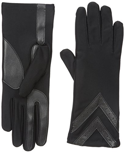 (isotoner Women's Spandex Touchscreen Cold Weather Gloves with Warm Fleece Lining and Chevron Details, smartDRI Solid Black, Small / Medium )