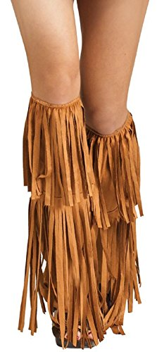 Fun World Women's Hippie Fringe Boot Covers, Multi, -