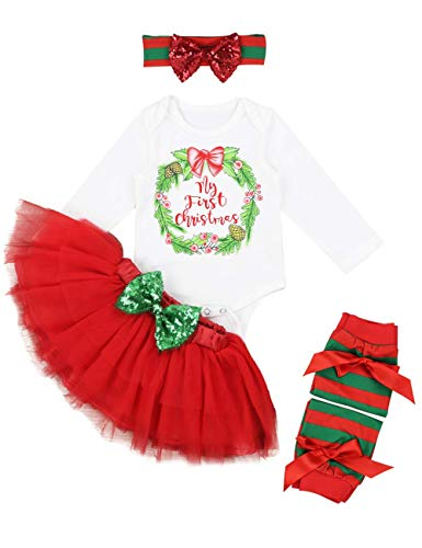My First Christmas Baby Girls Clothes Long Sleeve Bodysuit with Tutu Dress 4pcs Party Outfit Sets-80 (3-6months) Red