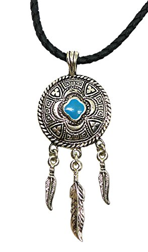 Bijoux De Ja Pewter Engraved Enamel Dream Catcher Pendant Leather Necklace 18 - Tiffany Official Outlet