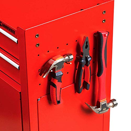 Homestock Portable Tool Storage Box 7-Drawer Rolling Tool Chest Removable Tool Storage Cabinet with Sliding Drawers Keyed Locking System Toolbox Organizer (Red) by Homestock (Image #4)