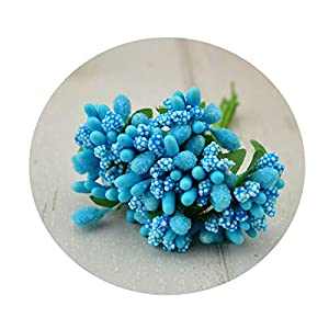 shinney1 12 pcs Stamen Sugar Handmade Artificial Flowers Wedding Decoration DIY Wreath Needlework Gift Box Scrapbooking Fake Flower,17 Days Blue 77