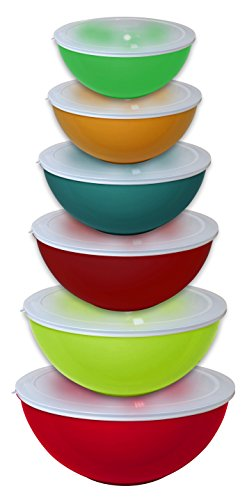 Gourmet Home Products 12 Piece Nested Polypropylene Mixing Bowl Food Storage Set with Lids, Orange