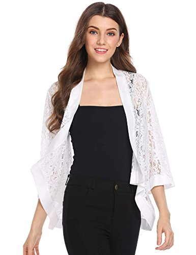 Zeagoo Women's Elegant Cardigan Bell Sleeves High Low Cover Up Jacket White XL -