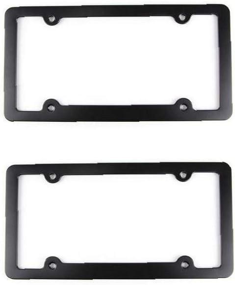 Car License Plate Frame 4 Hole Matte Aluminum Alloy Slim License Plate Frame with Screws Caps for Cars Color Black 1Set