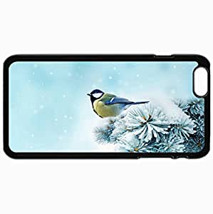 Personalized Protective Hardshell Back Hardcover For iPhone 6 Plus, Bird Chickadee Spruce Snow Design In Black Case Color