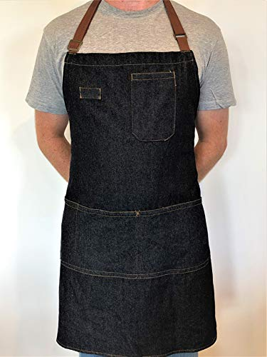 Denim Apron With Pockets - Stay Organized When You're BBQ Grilling And Cooking - Stylish Cooking Aprons For Men -...