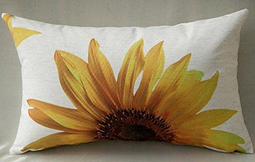 Pillow Sunflower (Cotton Linen Home Office Decorative Throw Waist Lumbar Pillow Case Cushion Cover Natural Yellow Sunflower Print Rectangle 12 X 20 Inches)