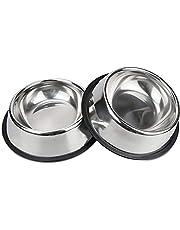 Voederbak en drinkbak voor honden en katten van roestvrij staal, 18 cm, voederbak van roestvrij staal, voor honden en katten, 2 stuks