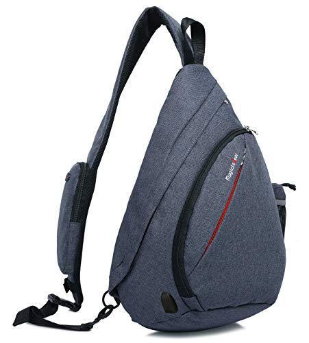 Magictodoor Sling Bag for Men Women Travel Packs Chest Backpack w/Anti-theft RFID Blocking Pocket & USB Charging Port (Blue)