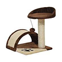 "PawHut 17"" Cat Scratching Tree Kitty House Kitten Activity Centre Pet Bed Post Furniture with Hanging Toy (Beige) (Brown)"