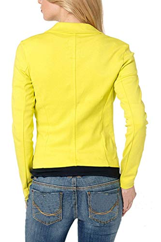 Blazer Giaccone Tasche Grazioso Giallo Bavero Business Slim Manica Eleganti Marca Button Donna Cappotto Primaverile Fit Autunno Con Lunga Di Da Moda Giacca Mode Monocromo Tailleur Alla xxwqH4g7S