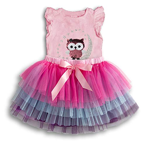 VIKITA Girls Summer Cute Owl w/Moon & Stars 2pcs Set Sundress Short Sleeve Casual Cotton Dress SK3924 ()