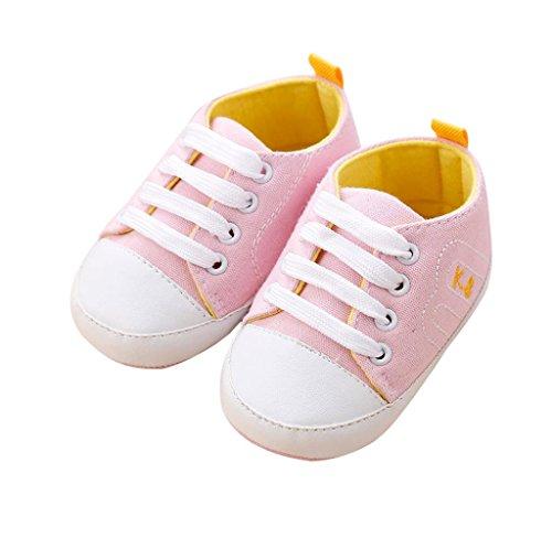 Covermason Neugeborene Baby Bandage Schuhe Krippenschuhe Sneakers, Weiche Sohle, Anti-Rutsch Rosa
