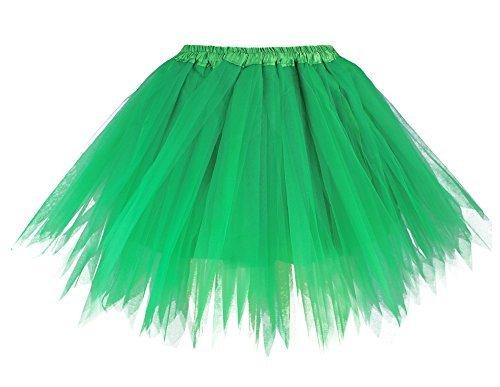 v28 Women's Teen's 1950s Vintage Tutu Tulle Petticoat Ballet Bubble Skirt (Regular Size (US: 0-12), Green) -