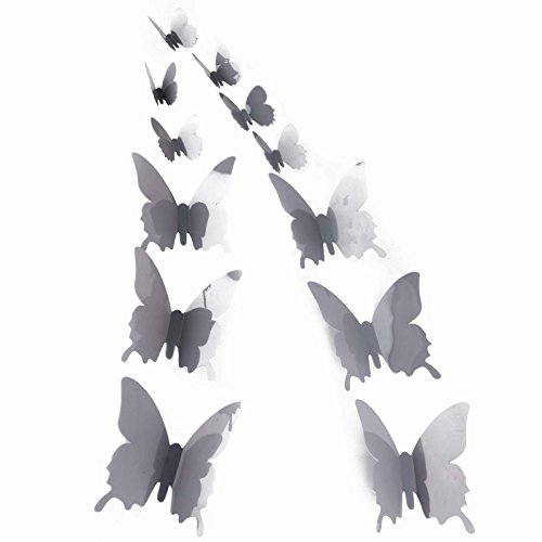 Belle Square Sheets (12pcs 3D Butterfly Sticker Art Design Decal Wall Stickers Home Decor (Glossy Grey))