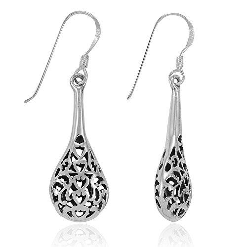 (MIMI Sterling Silver Bali Inspired Heart Filigree Puffed Raindrop Dangle Hook Earrings)