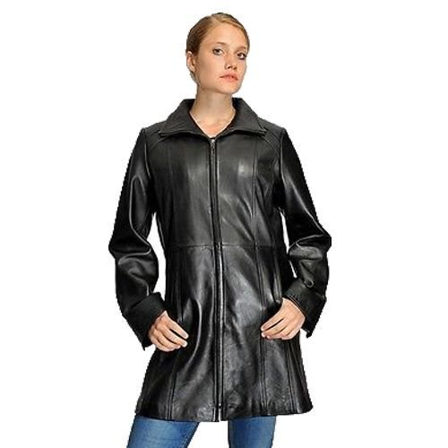 Women's Long Parka Butter Soft Lamb Swing Leather Coat with 2 Pockets Big Cut(3XL)