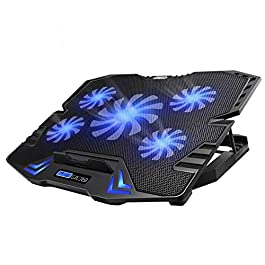 TopMate C5 10-15.6 inch Gaming Laptop Cooler Cooling Pad, 5 Quiet Fans and LCD Screen, 5 Heights Adjustment, 2 USB Port…