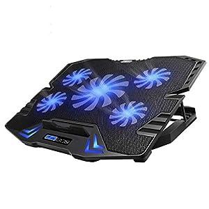 TopMate C5 10-15,6 Pouces Pad de Refroidissement pour Ordinateur Portable de Jeu, 5 Ventilateurs Silencieux et écran LCD…