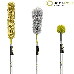DocaPole High Reach Dusting Kit with 5-12 (1.5-3.5m) Foot Extension Pole // Cleaning Kit Includes 3 Dusting Attachments // Cobweb Duster // Microfiber Duster // Ceiling Fan Duster