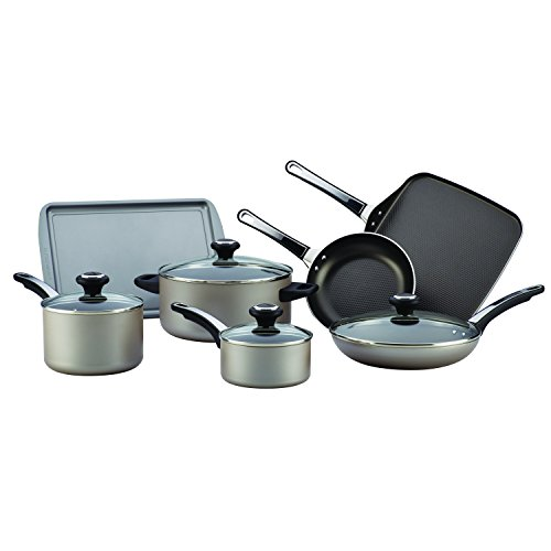 Champagne Aluminum (Farberware High Performance Nonstick Aluminum 17-Piece Cookware Set, Champagne)