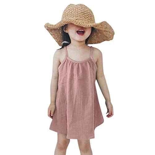 Baby Girl Dress,✔ Hypothesis_X ☎ Infant Baby Girls Strap Sleeveless Dress Kids Solid Loose Colors Beach Dress Pink