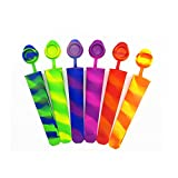 CutieBoo Silicone Ice Pop Molds With Attached Lids,Colored Rainbow Swirl Popsicle Maker Molds,6 Vibrant Colors,Set Of 6