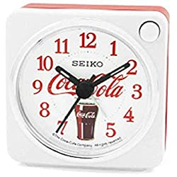 Seiko Coca-Cola Silent Alarm Clock with Snooze and Night Light, Red