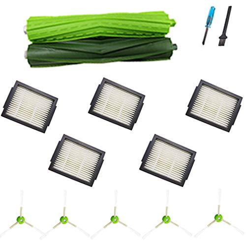 Amyehouse Replacement Parts Kit for iRobot Roomba i7 i7+ Plus E5 E6 Vacuum,2 Set Multi-Surface Rubber Brushes & 10 High-Efficiency HEPA Filters & 10 Edge-Sweeping Side Brushes & 5 Dirt Disposal Bags