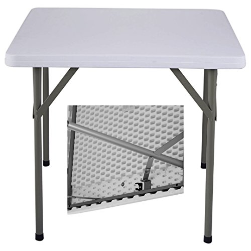 Commercial Construction Light-weight Portable Multipurpose 34'' Square Table High Density Plastic-Powder Coated Steel Frame Folding Indoor-Outdoor Party Dining Laptop Desk #1180 by Koonlert@shop