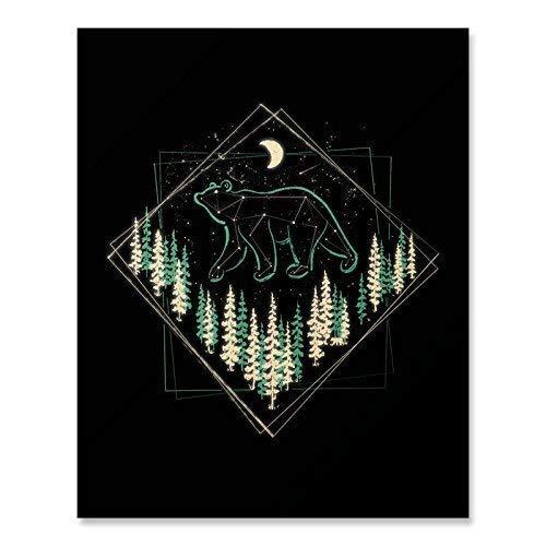 Bear Outdoor Wilderness Nature Art Print Forest Mountain Landscape Wall Art Great Outdoors Celestial Stars Constellation Woodlands Illustration Crescent Moon Inspiration Home Decor 8 x 10 Art Print ()