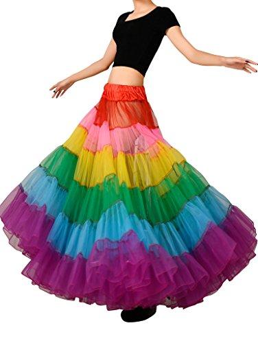(Edith qi Women's Layered Rainbow Tutu Skirt Petticoat Dance Dress)