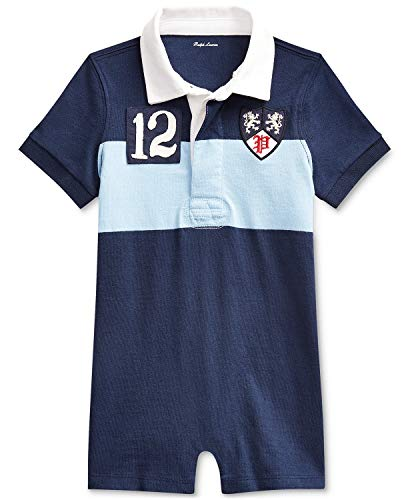 Ralph Lauren Baby Boys Jersey Rugby One-Piece Shortall Collin Blue Multi (9 Months)