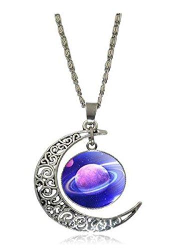 [Luck Wang Women's Unique Fashion Star Moon Time Gemstone Necklace(2#)] (Six Million Dollar Man Costume)