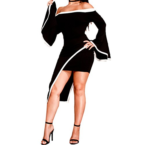 Bodycon4U Women's Sexy Asymmetric Hem Flare Bell Sleeve Bodycon Club Party Mini (Black And White Cocktail Dress)
