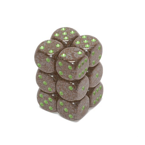 Chessex D6 Speckled - Chessex Dice d6 Sets: Earth Speckled - 16mm Six Sided Die (12) Block of Dice