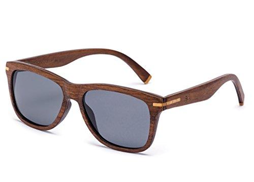 Tree Tribe Polarized Wood Wayfarer Sunglasses - Cruiser Style Brown Wooden - Sunglasses Wood Good Sale For