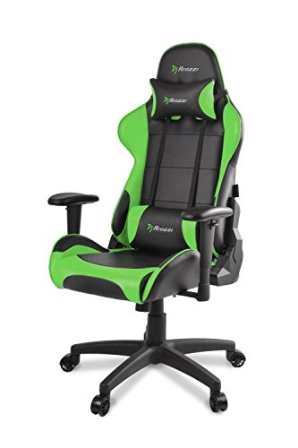 Arozzi Verona V2 Advanced Racing Style Gaming Chair with High Backrest, Recliner, Swivel, Tilt, Rocker and Seat Height Adjustment, Lumbar and Headrest Pillows Included, Green