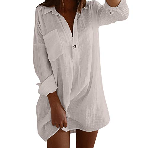 BeautyVan Long Top Dress,Womens Sexy Plus Size Long Sleeve Solid Color Cotton Linen Shirt -