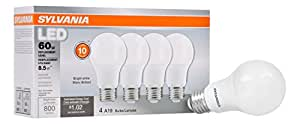 Sylvania Home Lighting 79704 Value LED Light Bulb (4), A19, 60W Equivalent, Bright White 3500K, 4 Pack, 4 Piece